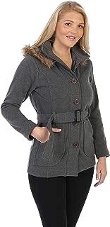 unik 女士羊毛外套带毛皮帽和可拆卸皮带 黑色 红色 灰色