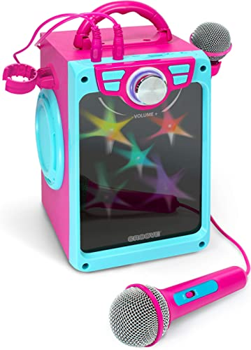 Croove Karaoke Machine for Kids | Karoke Set with 2 Microphones | Bluetooth/AUX/USB Connectivity | Pink Kareoke Machi...