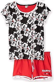 Pijama de manga corta para mujer y mujer Disney 100/% algod/ón dise/ño de Mickey Minnie Mouse S-XL