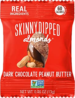SKINNYDIPPED Dark Chocolate Peanut Butter Covered Almonds, 0.46 oz Mini Bags, Pack of 24