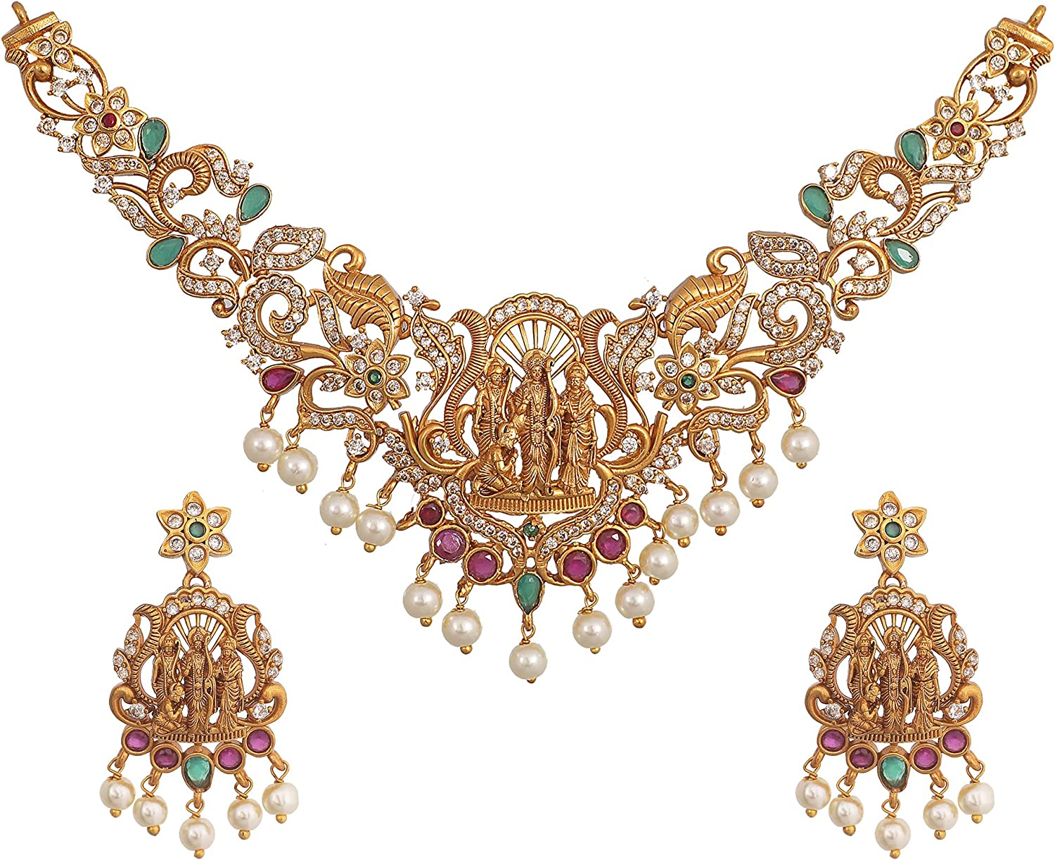 Tarinika Gold-Plated Indian Necklace Set for Women and Girls- White Red Green