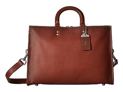 COACH Rouge Brief in Glovetan Leather (Dark Sienna) Briefcase Bags