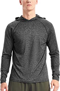 Men's Lightweight Pullover Hoodie - Hooded Long Sleeve Workout Shirts Dry Fit