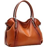 Heshe Womens Leather Handbags Tote Bag Top Handle Bag Hobo Shoulder Handbag Designer Ladies Purse...
