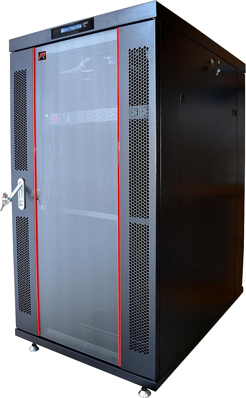 22U Rack Server Cabinet 32 Inch Deep IT Data Network Enclosure (LED Screen Air Cooling)
