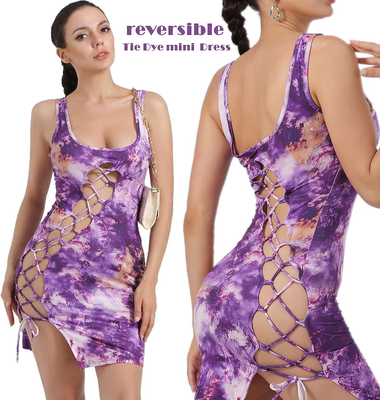 jnneyuu Women's Sexy Bodycon Mini Dress Tie Dye Sleeveless Cutout Slit Bodycon Night Out Party Dresses Clubwear Dresses