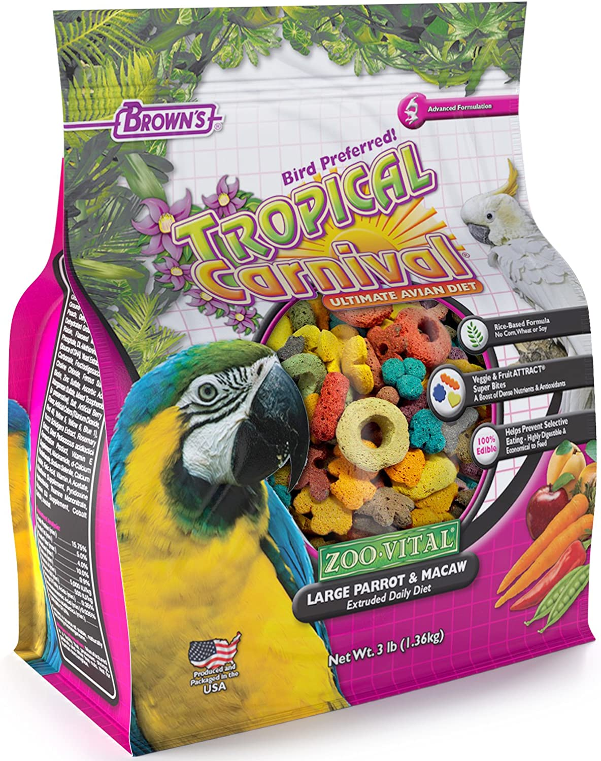 F.M.Brown's Tropical Carnival Zoovital Large Parred & Macaw Extruded Daily Diet, 3 lb