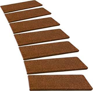 PURE ERA Carpet Stair Treads Set of 14 Non Slip Self Adhesive Bullnose Stair Protectors Pet Dog Rugs Covers Mats Skid Resistant Tape Free Backing, Washable Soft Solid Chocolate Brown 9.5