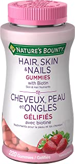 Nature's Bounty Optimal Solutions Hair, Skin and Nails Gummies 220 Count With Biotin Strawberry Flavored