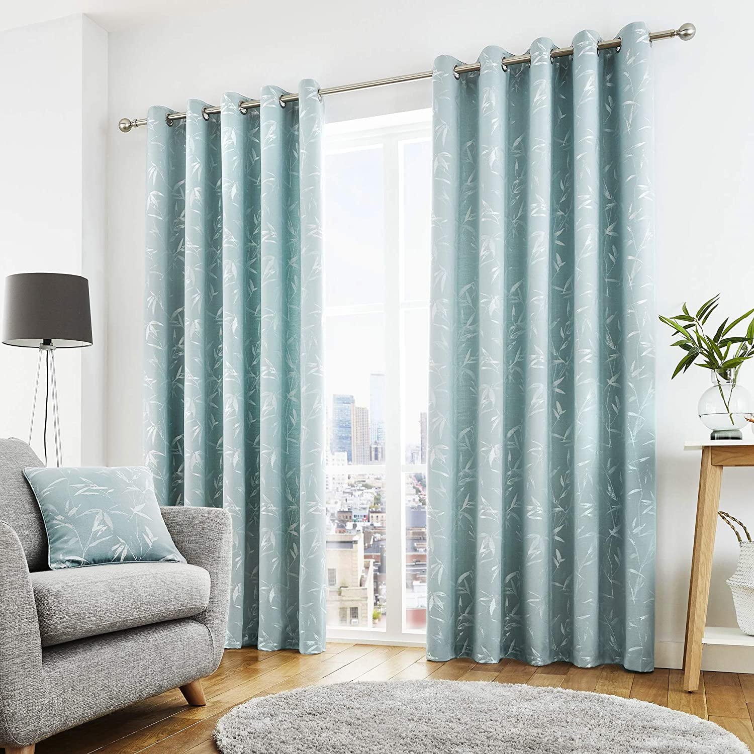 Curtina - Sagano - Ready Made Lined Eyelet Curtains - 66  Width x 54  Drop (168 x 137cm) in Duck Egg bluee