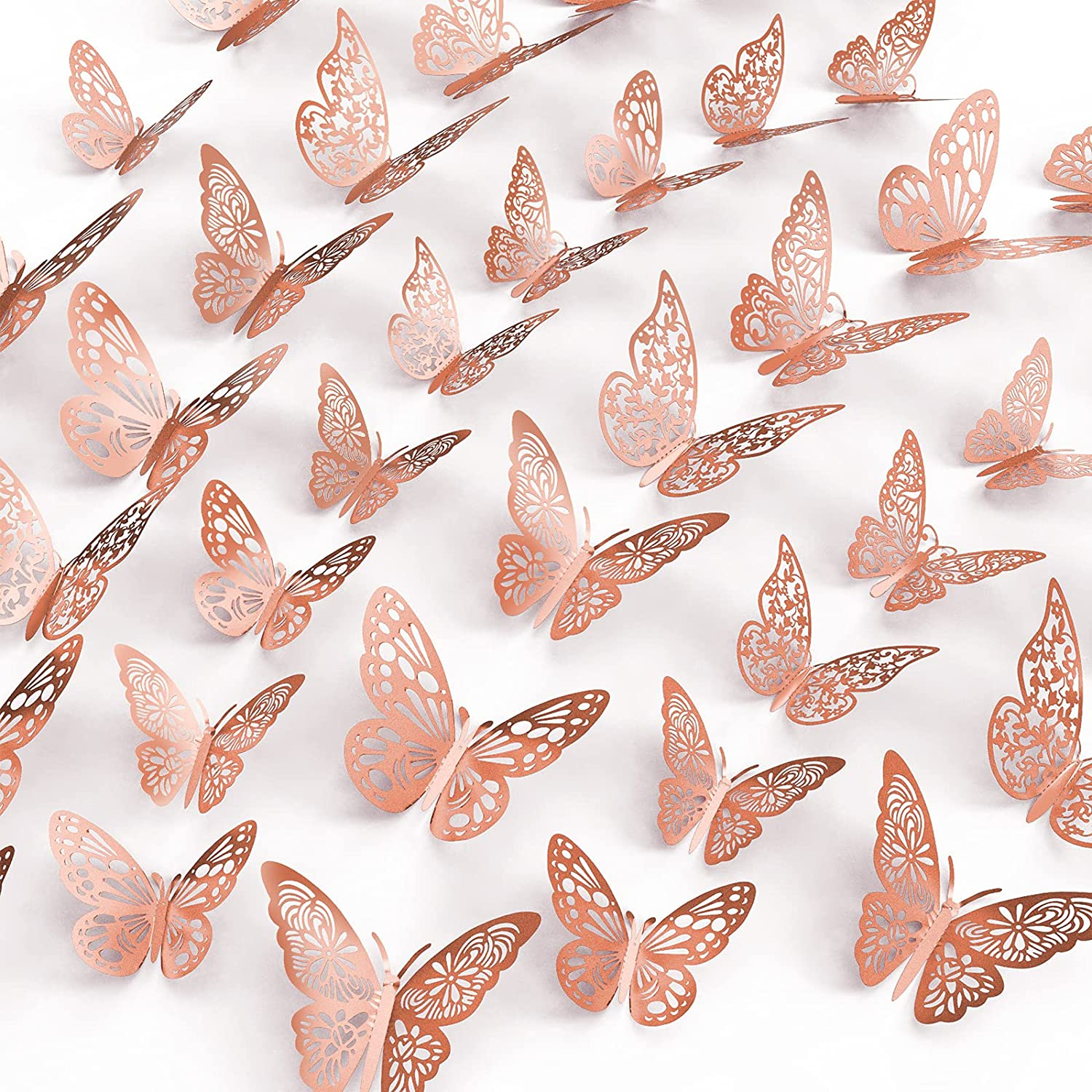 48Pcs Butterfly Wall Stickers, Basima 3D Butterflies Decor 4 Styles 3 Sizes, Removable Murals Metallic Wall Decals for Kids & Baby Bedroom Home Office Wedding Party, DIY Gift (Rose Gold)