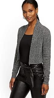New York & Co. Women's Marled Ziparound Shawl-Collar Cardigan