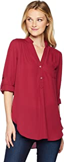 A. Byer Women's Young Woman's Teen Long Sleeve Roll-tab Tunic
