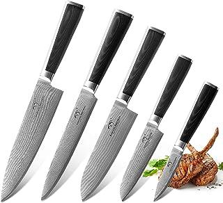 NANFANG BROTHERS Couteau de Cuisine Damas 5 Pièces,Couteau de Chef Set Professionnel Japonais en Acier de Damas 67 Couches...