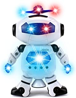 Digital Dancing Warrior Toy Robot Figure w/ Colorful Rotating Lights, Music, Dancing Action, 360 Degree Spins