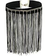 GUESS - Dramatic Choker with Chain and Fabric Fringe Necklace