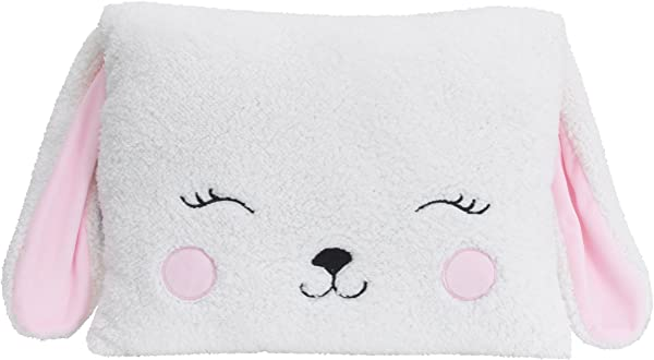 Little Love By NoJo Bunny Shaped Pillow White Pink
