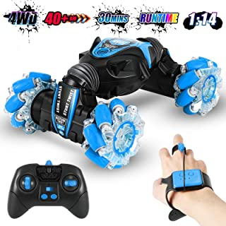 Gesture Sensing RC Stunt Car for Boys with Light & Music, 4WD Off Road Vehicle Truck, Double Sided 360° Rotating 2.4GHz Re...