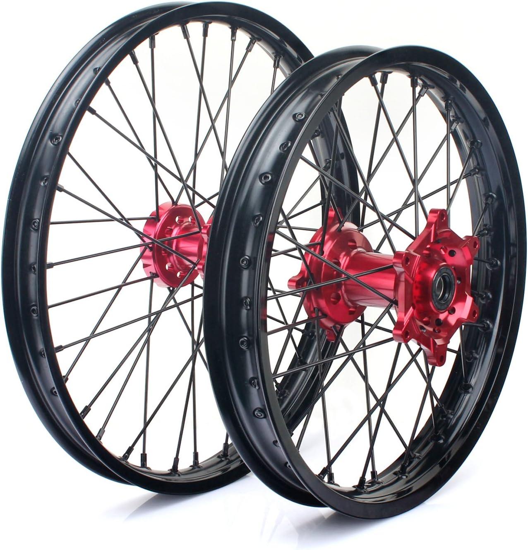 お金を節約 新発売 TARAZON 21 19 MX Wheel Complete Set Rims Spokes Hubs Hon for Red
