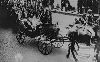 Vintage photo of Crown Prince Frederik of Denmark and Princess Ingrid of Sweden wagon on their wedding day - 24 May 1935