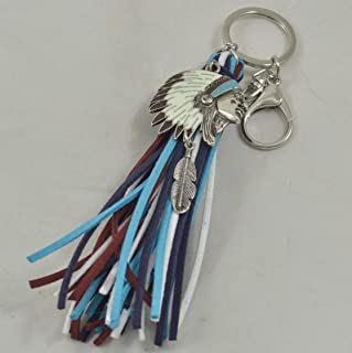 6 Inch Bohemian Boho Leather Tassel Keychain with Silver Native American Charm Purse Boot Clip