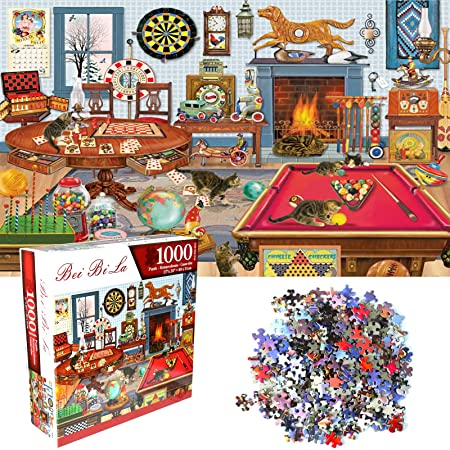 Game Toys Gift Home Decoration Puzzle Jigsaw Puzzle 1000 Piece for Adults,Cat Tiger Jigsaw Puzzle,Animal Jigsaw