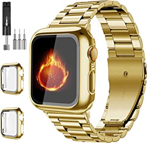 Bekomo[3-pack]Compatible for Apple Watch Bands 42mm,Solid Stainless Steel Metal Strap Band+2 Screen protector cases,iWatch band Compatible Apple Watch Series SE/6/5/4(42mm,Gold)