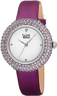 ساعة بورغي سواروفسكي كريستالية ملونة - علامة ألماس حقيقية على ساعة يد نسائية أنيقة بحزام جلدي نحيف - هدية عيد الأم - BUR227