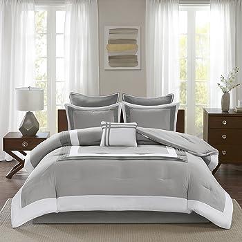 Comfort Spaces Malcom 7 Piece Comforter Set Ultra Soft Microfiber Hypoallergenic Bedding, Queen, Grey