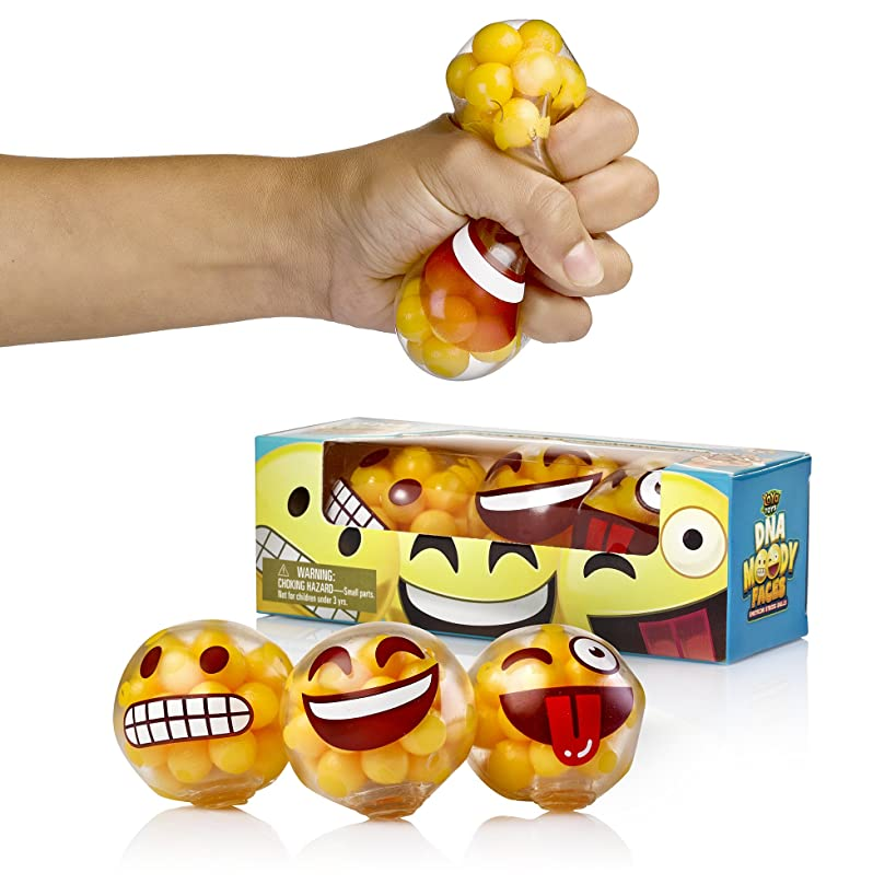 YoYa Toys DNA Emoji Stress Balls Squeezing Stress Relief & Fidget Toy - 3 Different Popular Smiley Face - Risk-Free Sensory Toys for Autism, ADHD, Bad Habits & More - Pack of 3
