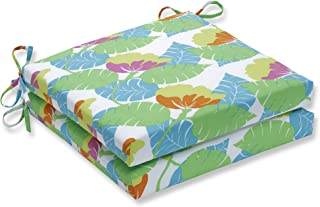Pillow Perfect Outdoor/Indoor Avia Fiesta Squared Corners Seat Cushion (Set of 2), Lime Green, 20 in. L X 20 in. W X 3 in. D