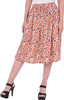 COTTON BREEZE Women's Cotton A-line Skirt (FP548, Multicolour, Free Size)