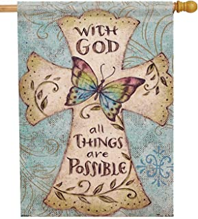 Dyrenson Decorative 28 x 40 Religious House Flag Cross Double Sided Christian Faith, with God All Things are Possible Burlap Yard Decoration, Butterfly Outdoor Décor Large Flag Spring Summer Easter