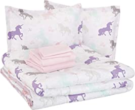 AmazonBasics Easy Care Super Soft Microfiber Kid's Bed-in-a-Bag Bedding Set - Full / Queen, Purple Unicorns