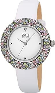 Burgi Swarovski Colored Crystal Watch - 4 Genuine Diamond Markers - Slim Leather Strap Elegant Women's Wristwatch - Mothers Day Gift - BUR227