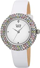 Burgi Swarovski Colored Crystal Watch - A Genuine Diamond Marker on a Slim Leather Strap Elegant Women's Wristwatch - Mothers Day Gift - BUR227