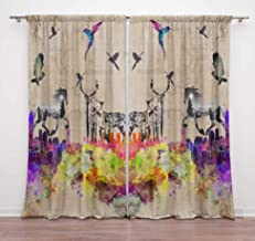 Timingila Beige Animal & Bird Double Exposure Watercolor Home Decoration Window Curtains Rod Pocket Drapes for Living Room...