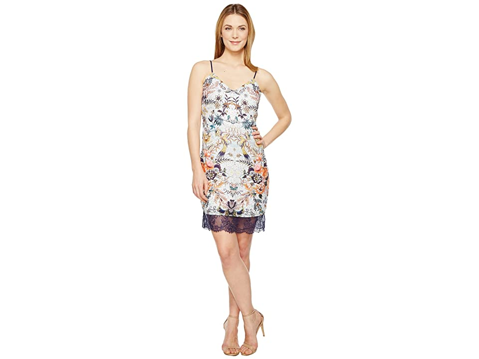 Adelyn Rae Lydia Woven Printed Slip Dress (White Multi) Women