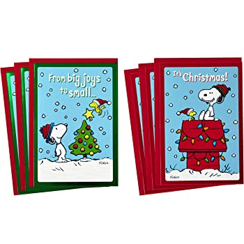 One Card Hallmark Peanuts Snoopy CHRISTMAS Card w// Red Envelope NEW Glitter