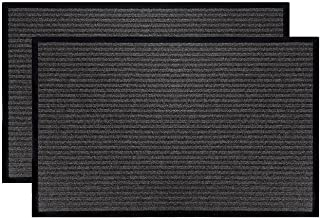 LuxUrux Durable Rubber Door Mat Set, Heavy Duty Doormat, Indoor Outdoor Rug, Easy Clean, Waterproof, Low-Profile Door Rugs...