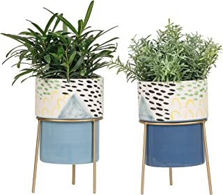 TERESA'S COLLECTIONS Ceramic Planters with Drainage Holes Metal Holders, Blue Small Plant Pots for Succulent Snake Flower ...