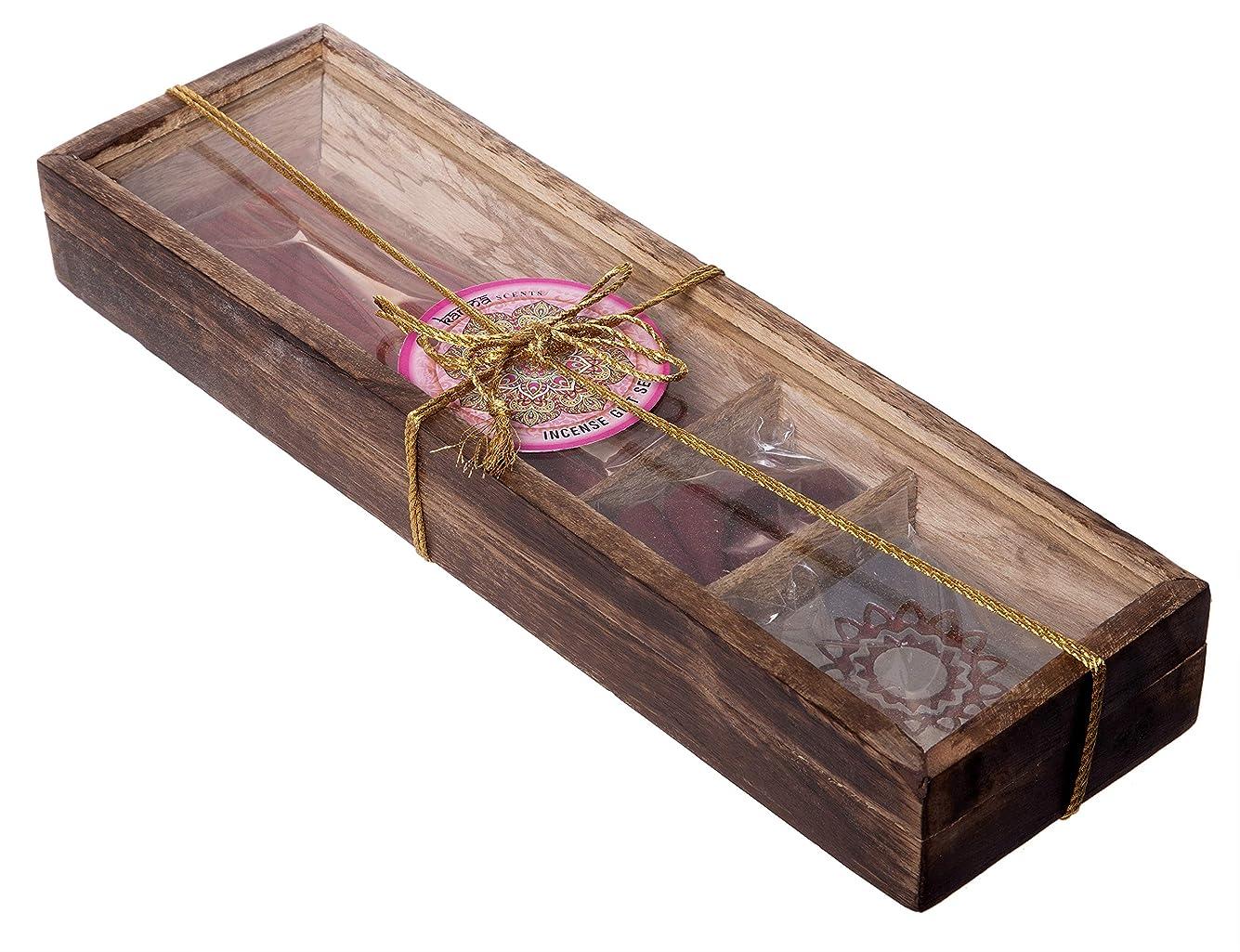 経度地震見えるKarma Scents プレミアム木製お香ギフトセット – 30本 – コーン10本と香ホルダースタンド