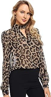 Women's Choker Neck Long Sleeve Sheer Leopard Print Chiffon Blouse Top