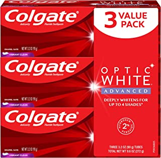 Colgate Optic White Advanced Teeth Whitening Toothpaste, Vibrant Clean (3 Count of 3.2 oz Tubes Each), 9.6 oz