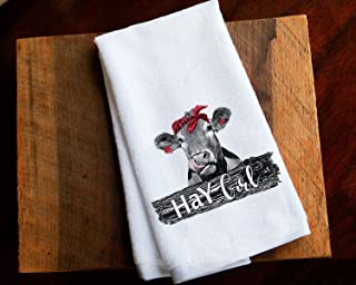 Funny Kitchen Towel Hay Cow Girl Farmhouse Home Decor