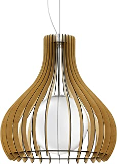 Eglo Tindori - Lámpara de techo colgante vintage, acero, madera y cristal en níquel mate, arce blanco, lámpara de mesa de comedor colgante con casquillo E27, diámetro de 60 cm