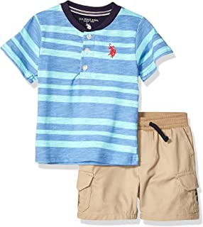 U.S. Polo Assn. Boys 2 Piece Short Sleeve Henley T-Shirt and Twill Short Set Shorts Set