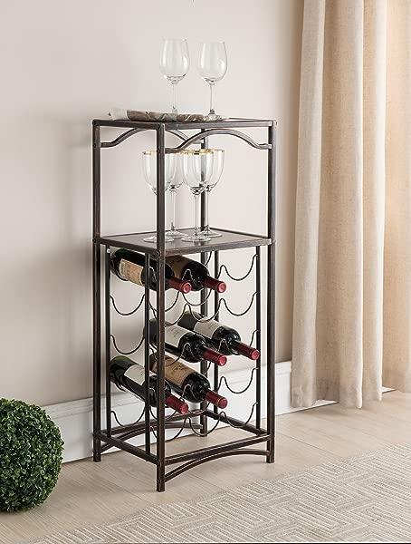 Kings Brand Furniture Metal 15 Bottle Floor Wine Rack Storage Organizer