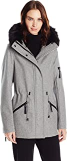 Calvin Klein Women's Anorak Wool Faux Fur Trimmed Coat