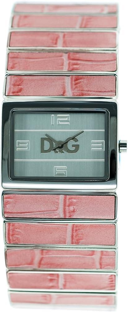 Dolce & gabbana,orologio da donna,cassa in acciaio,e cinturino in acciaio con inserti di caucciu` DW0083